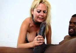 Blonde pet slut get deep face fucked by 12 inch BBC