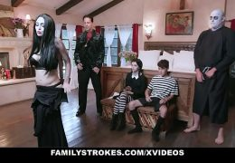 FamilyStrokes – Costumed Teen (Kate Bloom) And Milf (Audrey Noir) Get Fucked Hard And Rough For Halloween